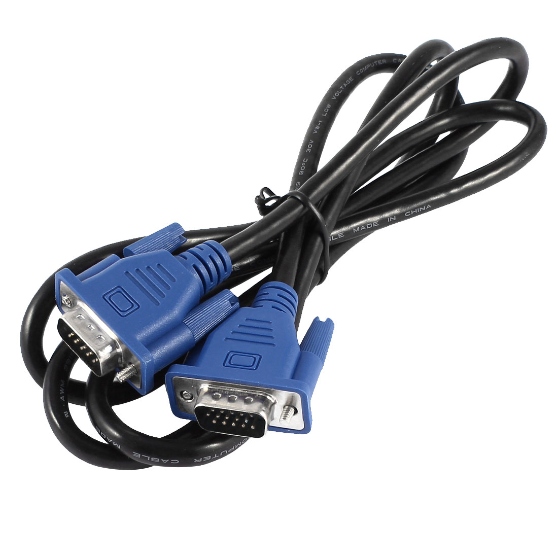 1.5M 5Ft VGA SVGA HD15 15Pin Male to Male M/M Connector Monitor Cable Cord Black