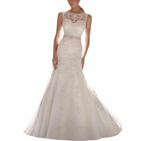 Albizia Latest Sleeveless Lace Appliques Mermaid Bridal Dress Wedding Gown