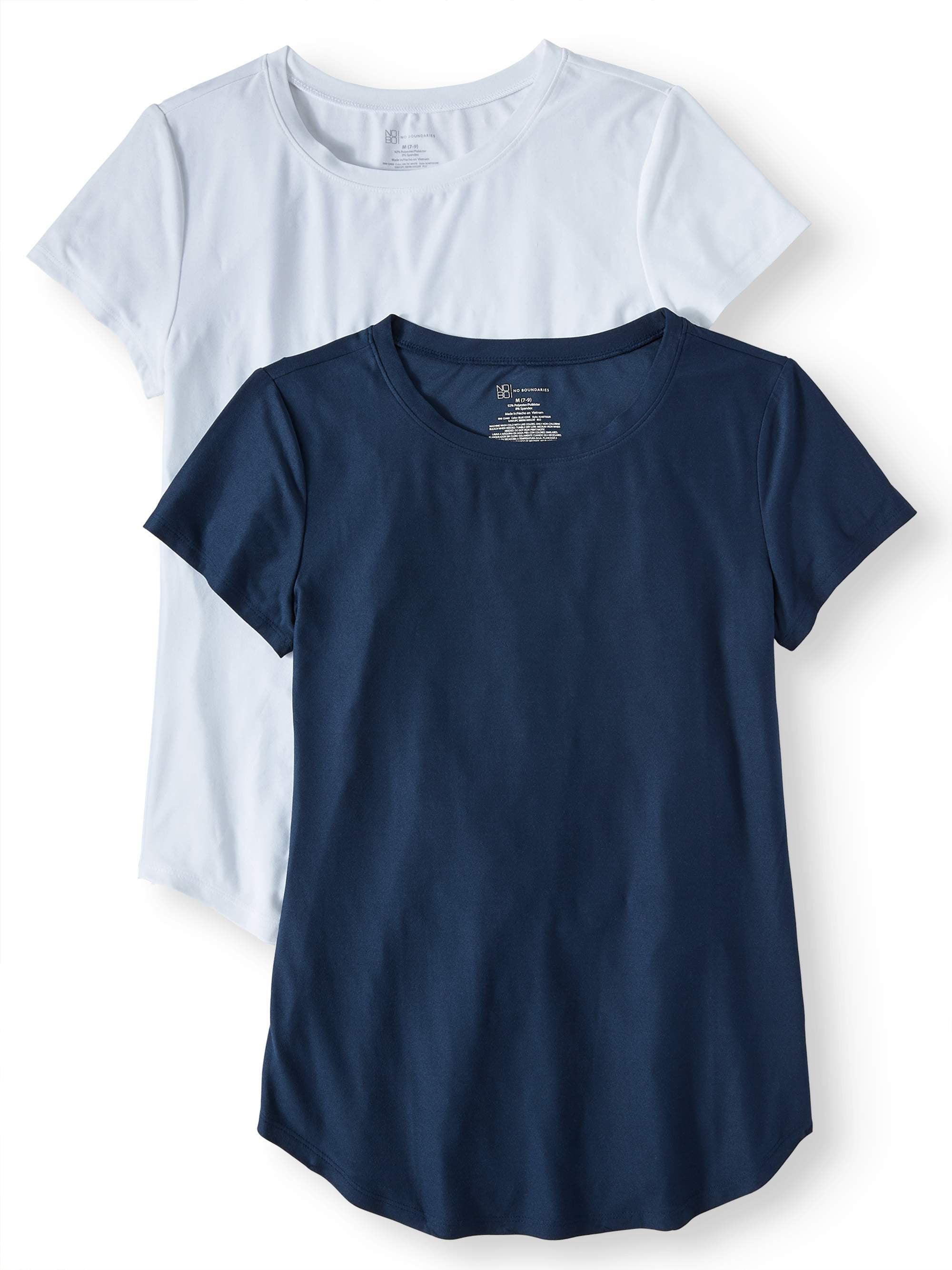 Juniors' Brushed Short Sleeve Round Neck T-Shirt 2-Pack