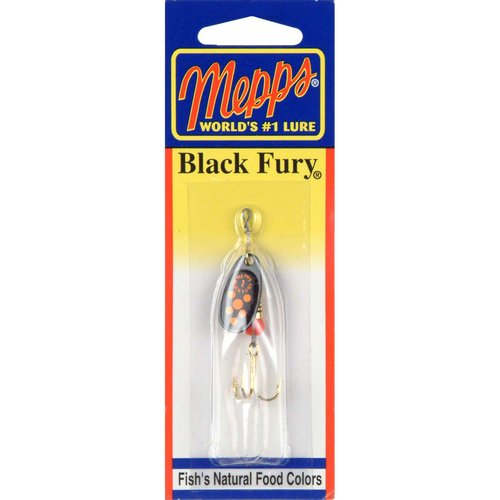 Mepps Black Fury Plain Treble Spinner, 1/8 oz, Fluorescent Red Dot