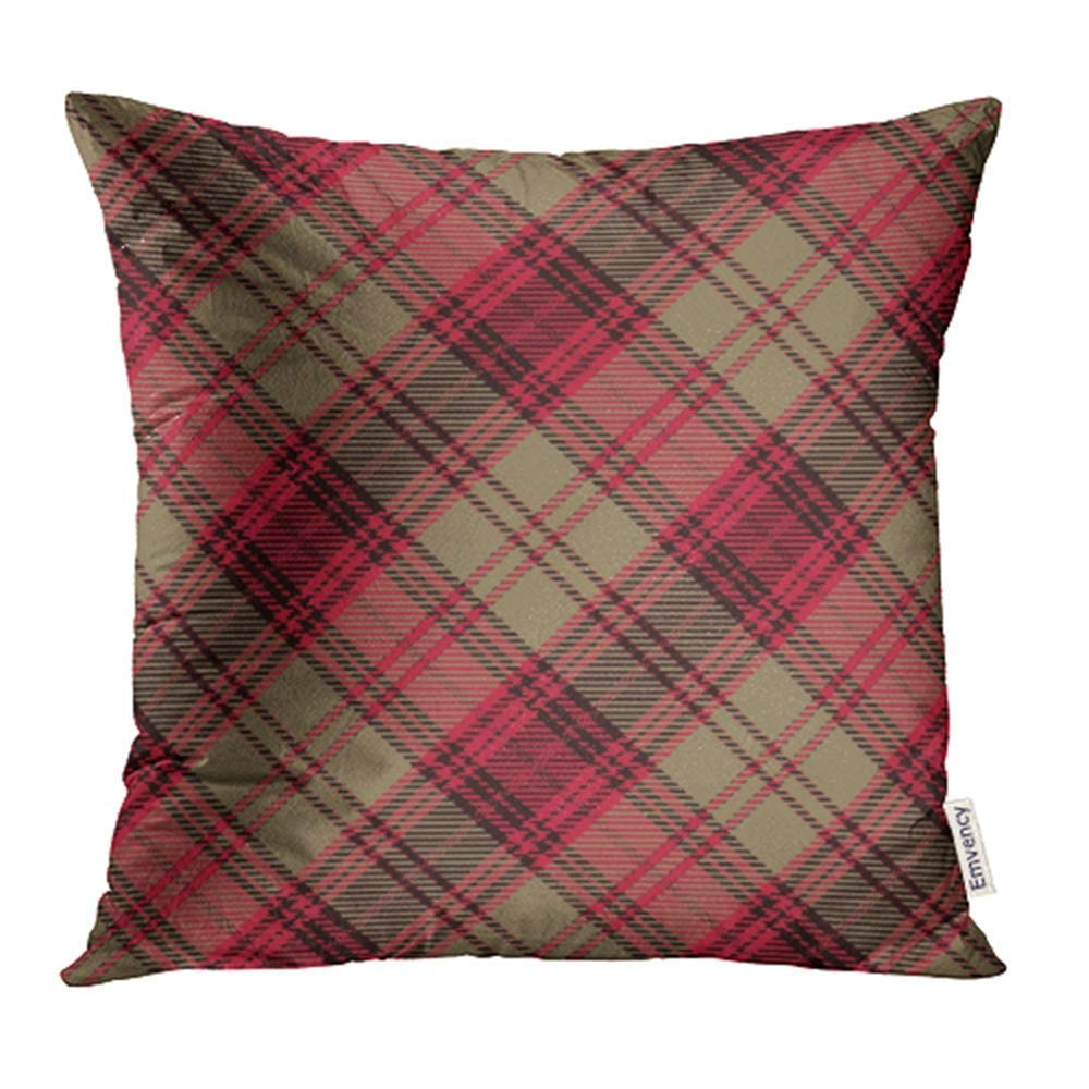 USART Abstract Tartan Red Black and Gold Plaid Flannel Patterns Trendy Tiles Pillowcase Cushion Cover 20x20 inch