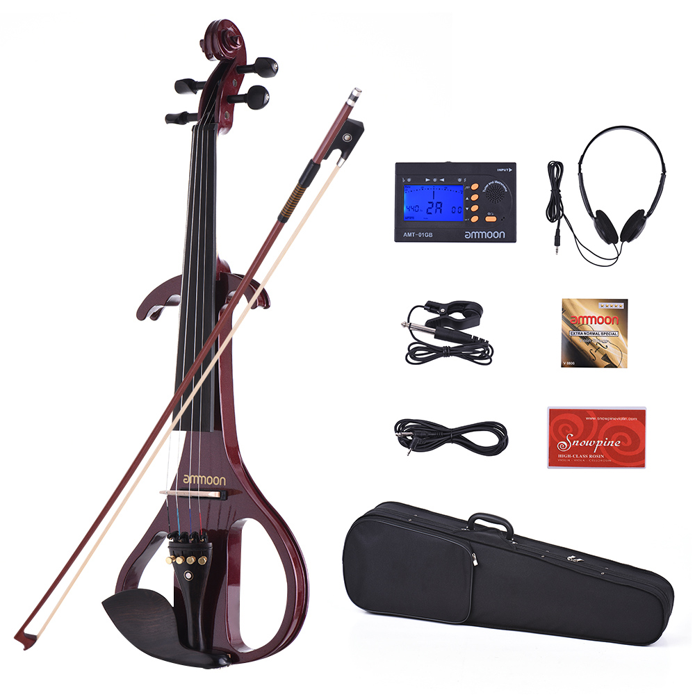ammoon VE-209 Full Size 4 4 Solid Wood Silent Electric Violin Fiddle Maple Body Ebony... by