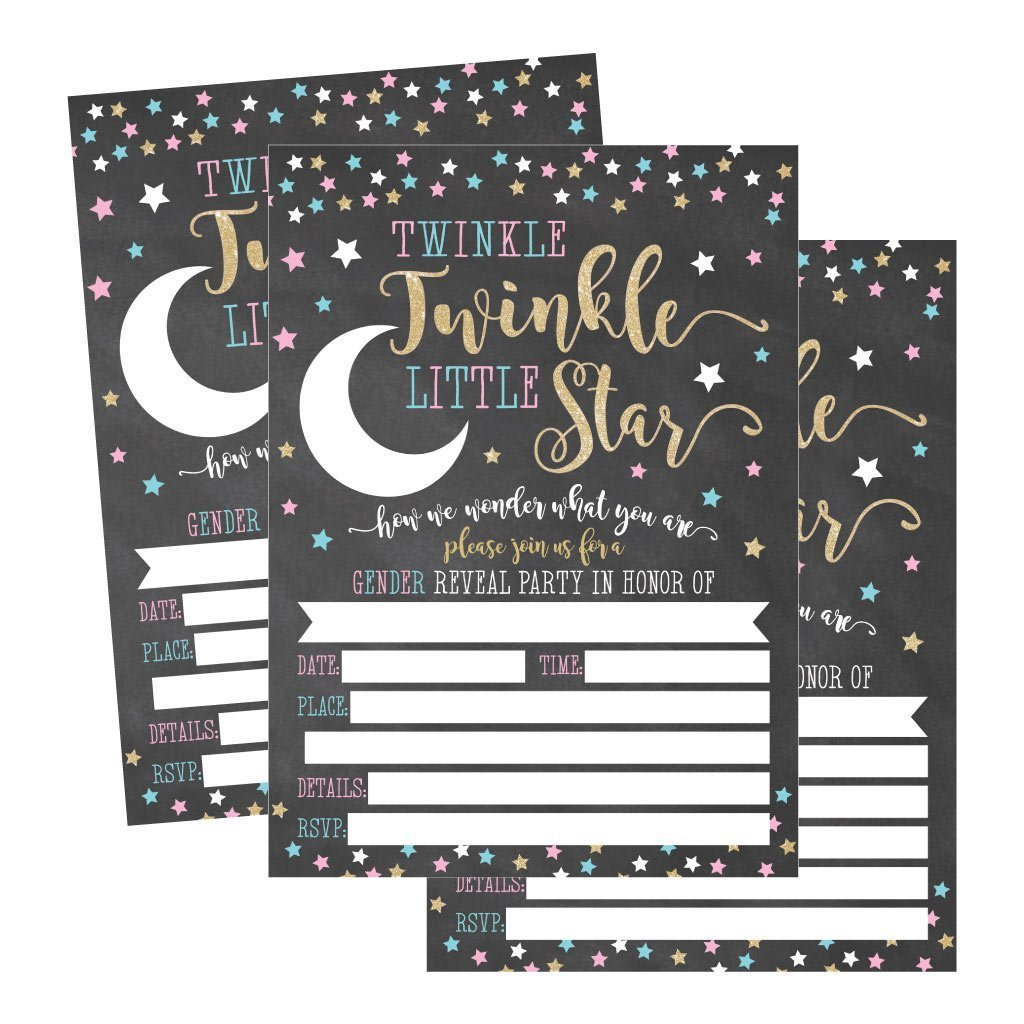 25 Twinkle Little Star Gender Reveal Baby Shower Party Invitation Cards, He or She Personalized For Gender Neutral Unisex Invites Guess If It's a Boy or Girl Sprinkle Fill In The Blank Printable Pack