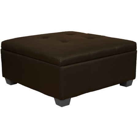 Phenomenal Timeless 36 Inch Large Square Tufted Padded Hinged Storage Ottoman Bench Leather Look Brown Creativecarmelina Interior Chair Design Creativecarmelinacom