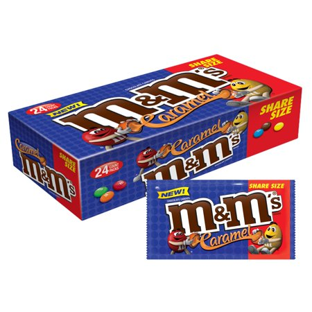 M&M'S Caramel Chocolate Candy Share Size, 2.83 Ounce Pouch, 24 Count Box