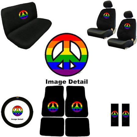 Rainbow Peace Sign Symbol Multicolor Log Pads Interior Combo Kit Gift Set - 15PC