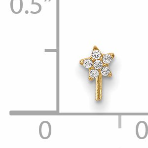 14k Yellow Gold Cubic Zirconia Cz Star Nose Stud Body Nostril Fine Jewelry Gifts For Women For Her - image 1 de 7