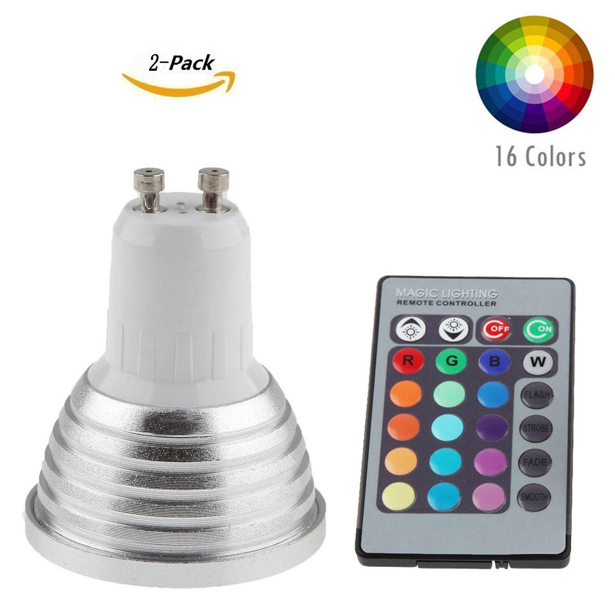 Zimtown 2-Pack Dimmable GU10 LED Light Bulbs,5W 85~265V RGB Color Changing Spotlight with IR Remote Control Mood Ambiance Lighting for Home Decoration, Bar, Party