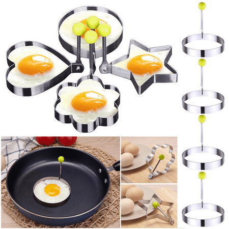 Egg Ring, Stainless Steel Fried Egg Molds with Convenient Handles- Fired Egg Rings - 4 Piece Set - Heart, Circle, Star and Plum Flower Shapes for Kitchen Cooking, I2588
