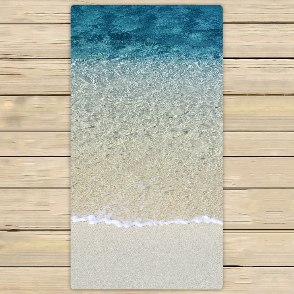 GCKG Beach Clear Sea Sand Ocean Hand Towel,Spa Towel,Beach Bath  Towels,Bathroom Body Shower Towel Bath Wrap Size 30x56 Inches