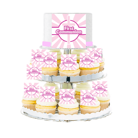 First Communion  Edible Photo Toppers  & Edible Cupcake Decoration Kit -Pink - Communion Kits