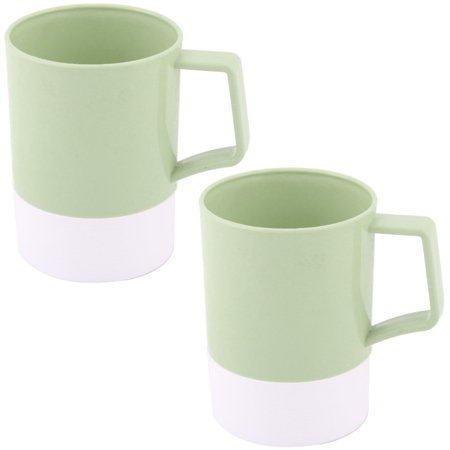 Uxcell Plastic Bathroom Toothbrush Toothpaste Holder Water Mug Cup Green 400ml 2pcs ()