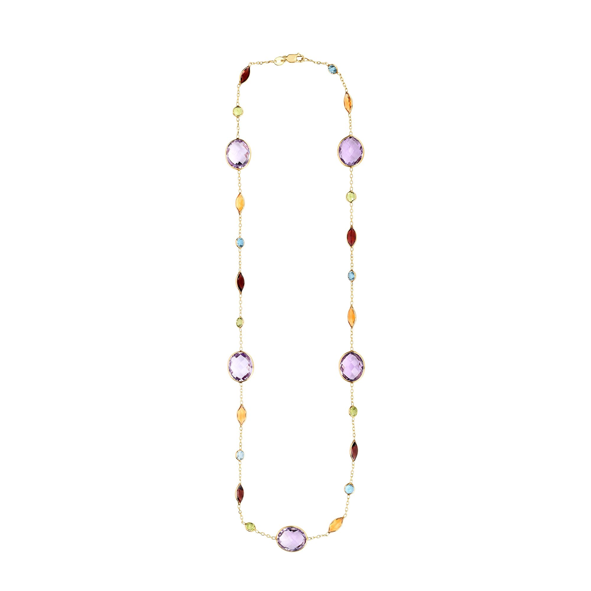 14K Yellow Gold 1mm Cable Necklace with Multi Colored Stones in Multi Shape with Lobster Clasp by Goldia