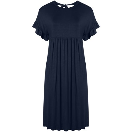 Simlu - Womens Casual Dress T-Shirt Tunic Reg and Plus Size Summer Dress  with Back Bow Tie -Made in USA - Walmart.com