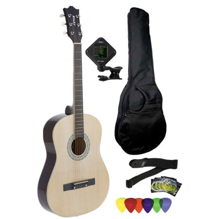 Fever 3/4 Size Acoustic Guitar Package Natural with Gig Bag, Guitar Tuner, Picks and Strap, FV-030-NT-PACK