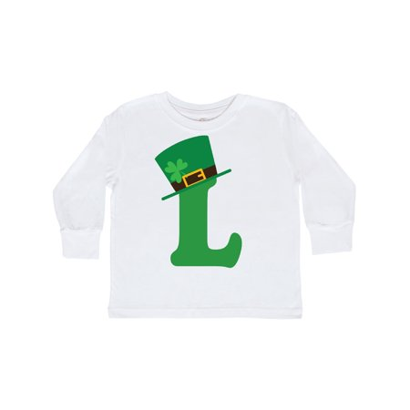 Irish St Patricks Day Letter L Monogram Toddler Long Sleeve T-Shirt](Monogram Kids Clothing)
