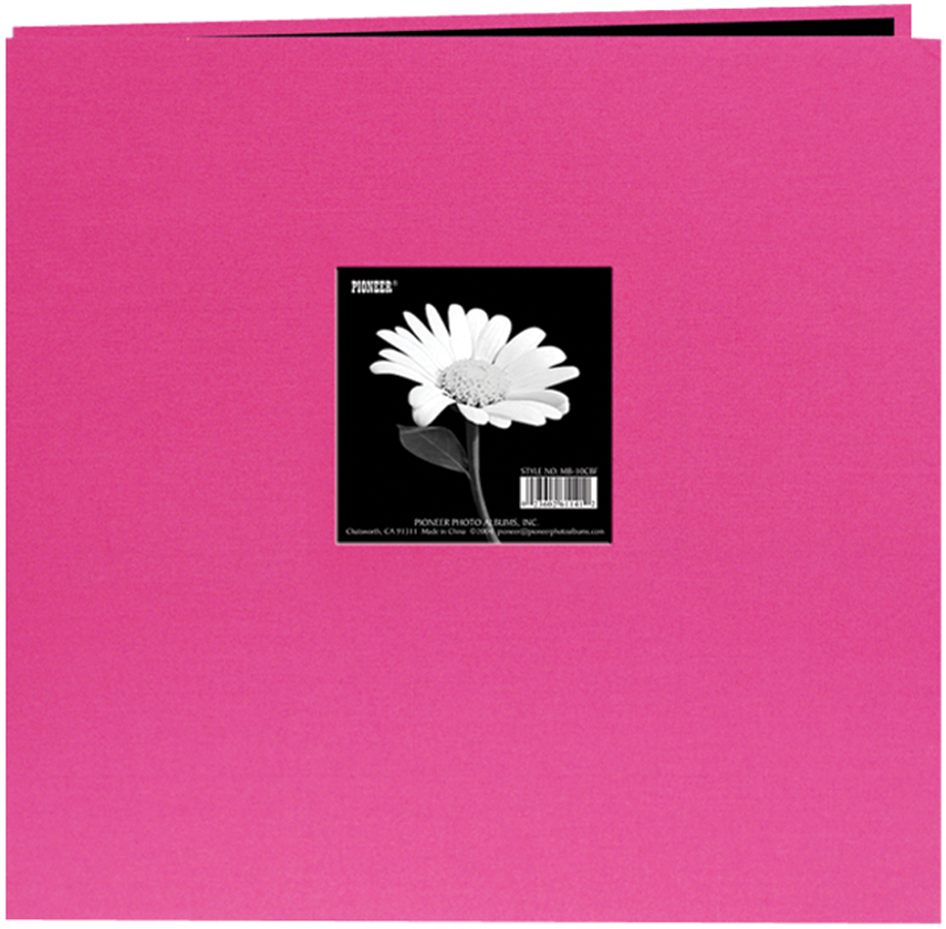 "Pioneer Book Cloth Cover Post Bound Album 12""X12""-Bright Pink"