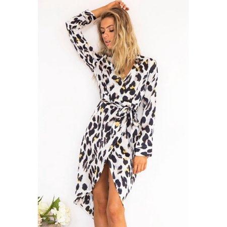 V-neck New Bandage Coat Dress Leopard Long sleeve Spring Women Leopard Print Sexy Dress
