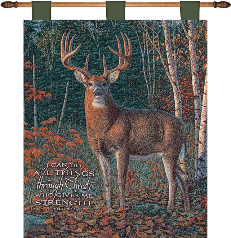 Autumn Sentinel Philippians 4:13 Deer Print Tapestry Wall Hanging 26 X 36