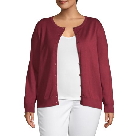 Heart & Crush Women's Plus Size Button Front Cardigan Button Front Sweater