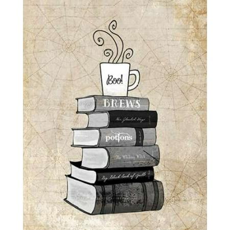 Halloween Books and Coffee Rolled Canvas Art - Amy Cummings (8 x 10)](Halloween Coffee Art)