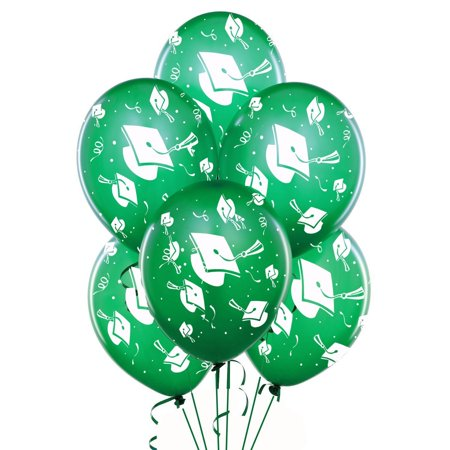 Graduation Balloons 11in Premium Emerald Green with All-Over print white Grad Caps-Confetti and Streamers - Balloons With Tulle