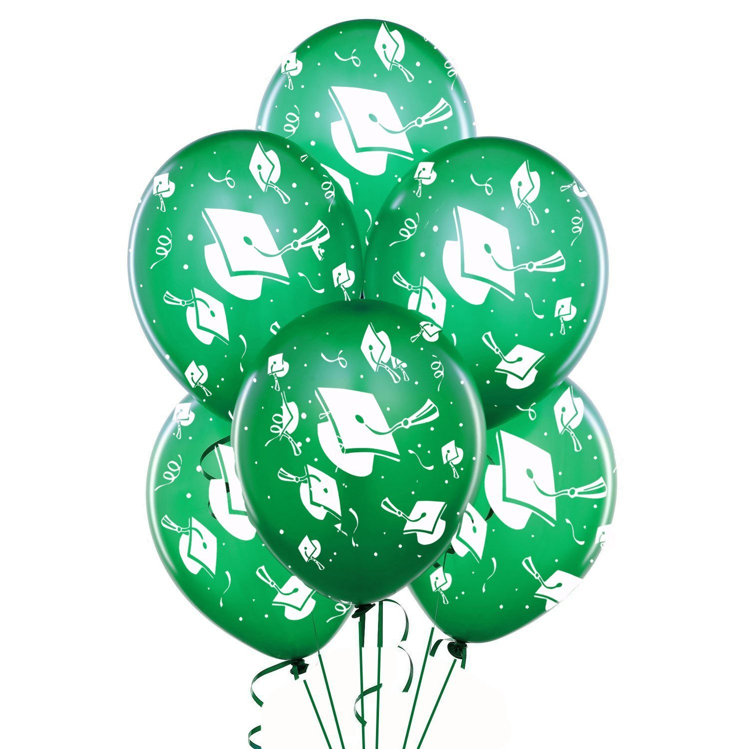 Graduation Balloons 11in Premium Emerald Green with All-Over print white Grad Caps-Confetti and Streamers Pkg/25