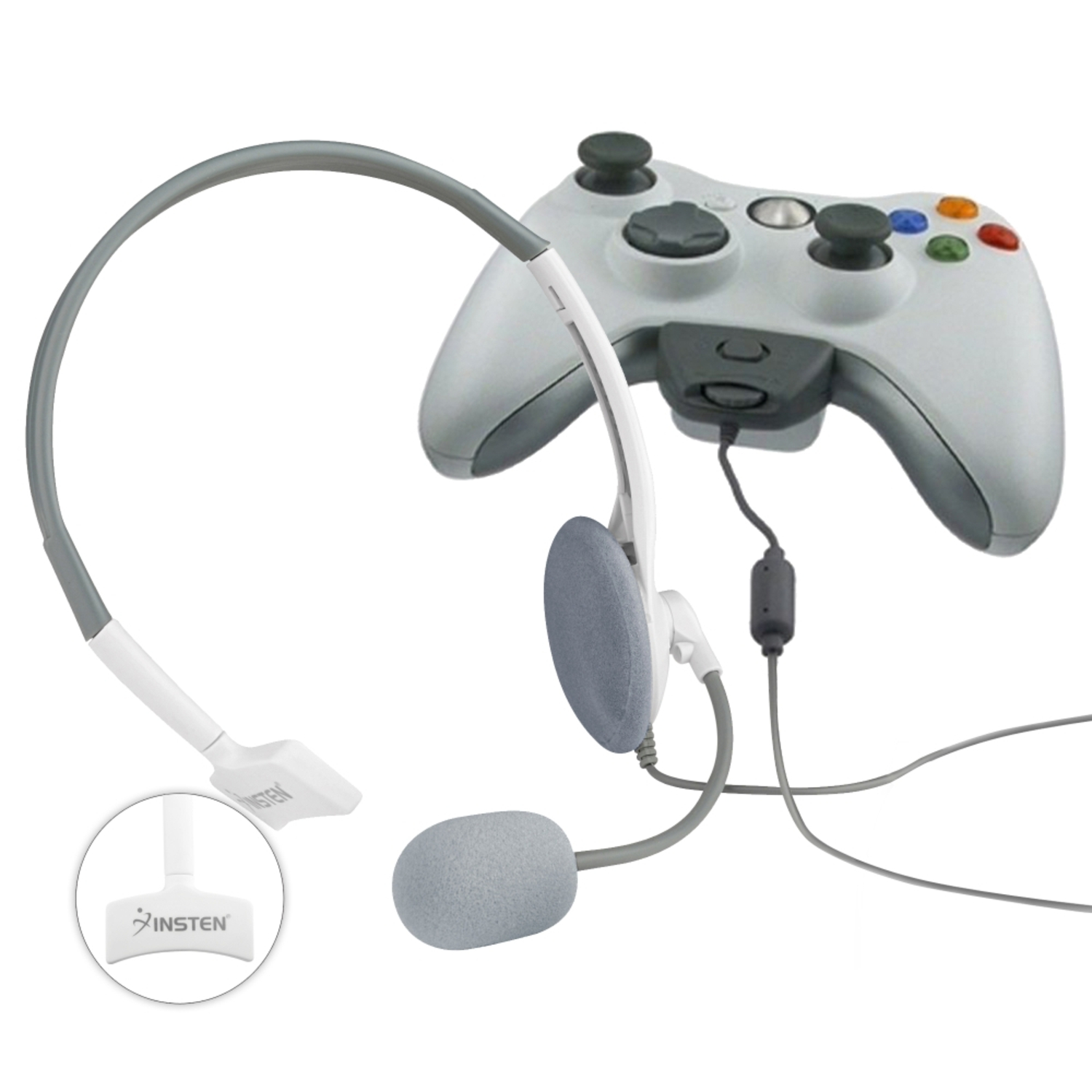 Insten NEW LIVE CHAT GAMING WIRED HEADSET HEADPHONE WITH MICROPHONE W/MIC FOR XBOX 360