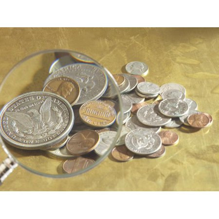 Magnifying Glass on American Coins Print Wall Art