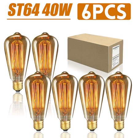 Great Value Vintage Edison LED Light Bulb, 40W 6 Count Antique Style Glass Light E26/E27 Base Amber Filament Bulb for Wall Sconces Pendant Lighting