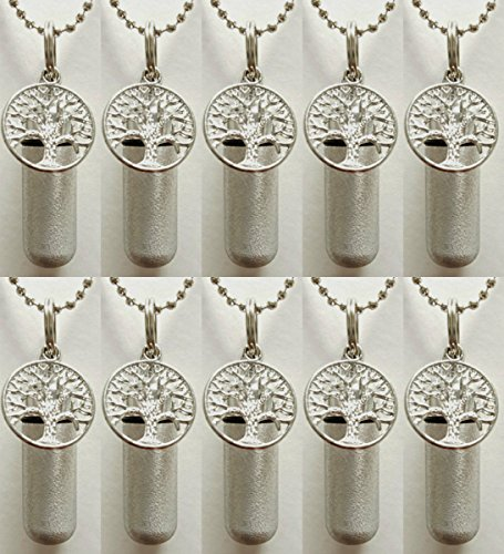Wholesale Set of TEN - Brushed Silver TREE OF LIFE CREMATION URN Necklaces with ENGRAVED Hearts - Includes 10 Velvet Pouches, 10 Ball-Chains and Fill Kit