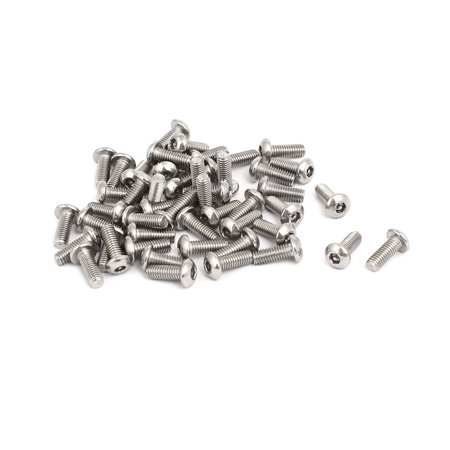 M3x8mm 304 Stainless Steel Button Head Hex Socket Tamper Proof Screws 50pcs - image 1 de 3