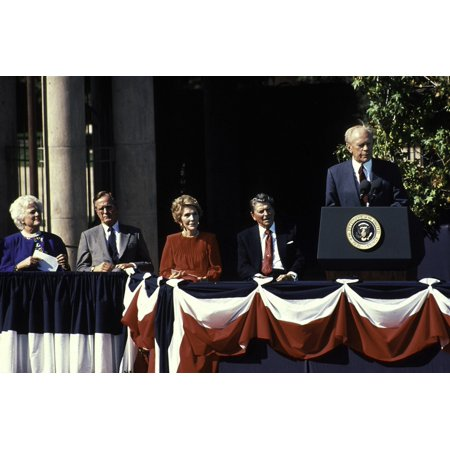 Barbara Bush George Bush Nancy Reagan Ronald Reagan And Gerald Ford On Stage Photo Print