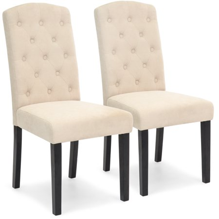 Best Choice Products Fabric Parsons Dining Chairs for Home Dining and Living Room with Tufted Backrest, Wood Legs, Set of 2,