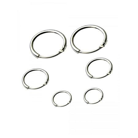 3 Pair Hoop Set (Round Small Sleeper Hoops Earrings 3 Pairs Earrings Hoop 8mm 10mm 12mm HFON)