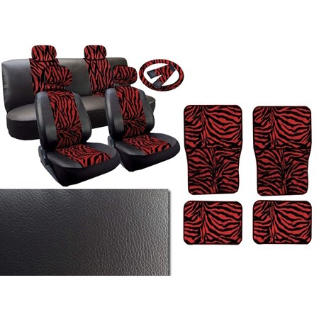 Red Zebra Deluxe Leatherette 13pc Full Car Seat Cover Set Premium Synthetic Leather Double Stitched - 4pc Faux Fur Floor Mats - Full -