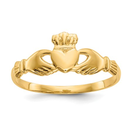 14k Yellow Gold Solid Polished Claddagh Ring - 1.3 Grams - Size 7.5