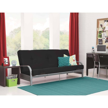 Mainstays Silver Metal Arm Futon Frame with Full Size Mattress, Multiple Colors