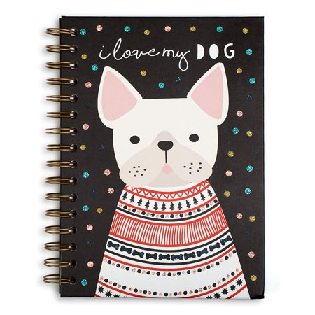 Dotted Spiral - I Love My Dog Hardcover Spiral Notebook, Glitter Dots