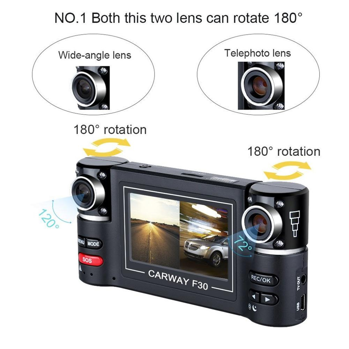 "2.7"" Dual Lens 1080P HD Car Vehicle Dash Cam Camera DVR Night Vision"