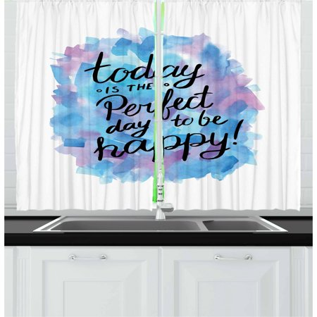 Motivational Curtains 2 Panels Set, Hand Drawn Paint Brush Effect Happiness Quote Abstract Composition, Window Drapes for Living Room Bedroom, 55W X 39L Inches, Dried Rose Blue Black, by Ambesonne