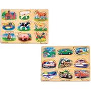 Melissa & Doug Sound Puzzles Set: Farm and Vehicles Wooden Peg Puzzles