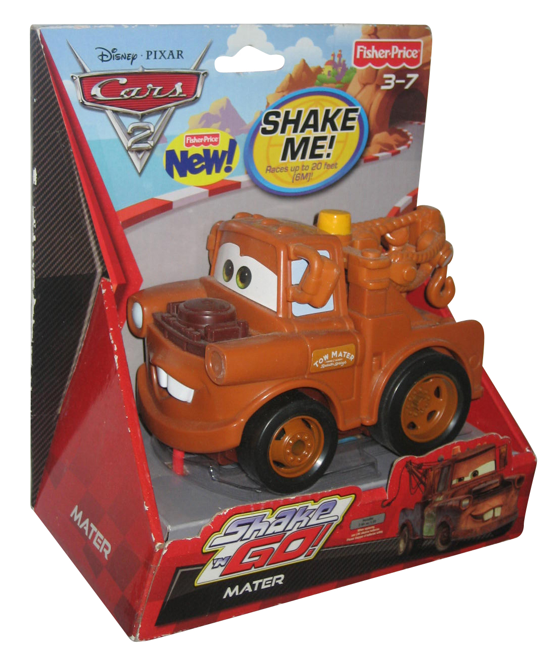 Disney Pixar Movie Cars 2 Fisher Price Shake N Go Mater Vehicle