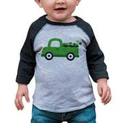 7 ate 9 Apparel Kids Green Truck St. Patricks Day 2T Grey Raglan