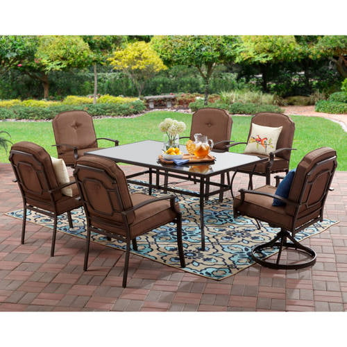 Mainstays Wentworth 7Piece Patio Dining Set Seats 6 Walmartcom