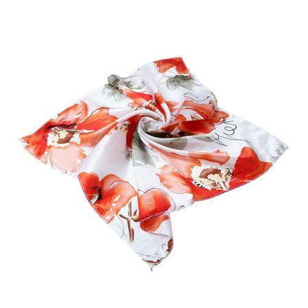 Elegant Silk Feel Floral Butterfly Square Satin Scarf - Silk Butterflies
