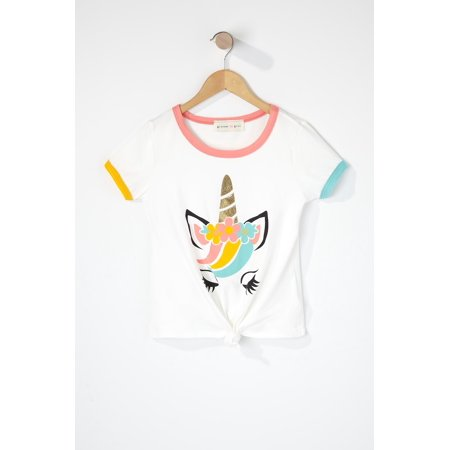 Urban Kids Youth Girls Rainbow Unicorn Ringer T-Shirt - image 2 of 2