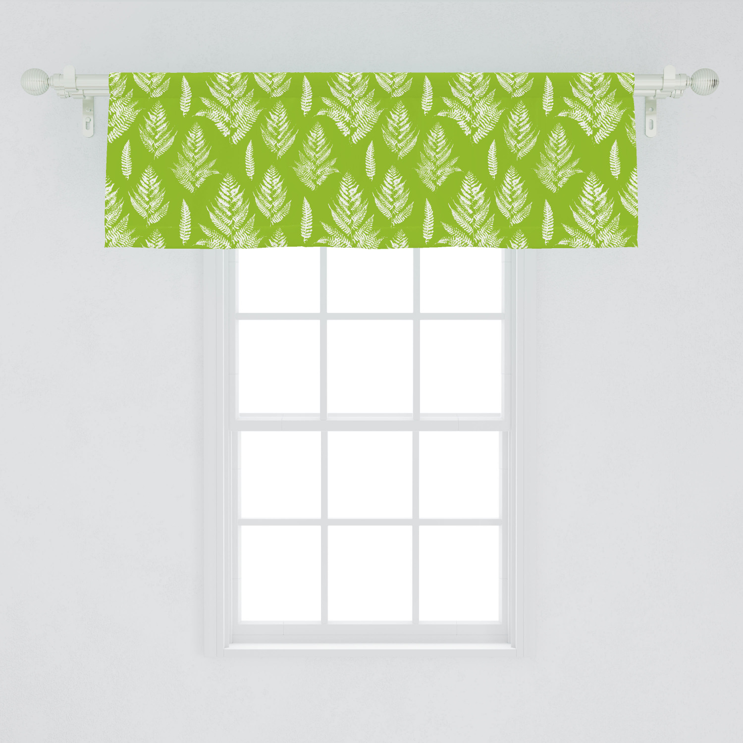Leaves Window Valance Simplistic Layout Of Fern Leaves With Paint Stains Grunge Monochrome Design Curtain Valance For Kitchen Bedroom Decor With Rod Pocket By Ambesonne Walmart Com Walmart Com