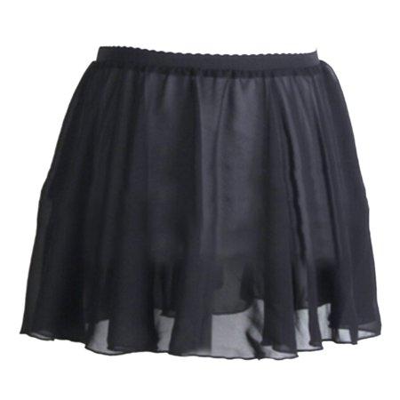- GOGO TEAM Child & Adult Sheer Wrap Skirt Ballet Skirt Ballet Dance Dancewear-BLACKELASTICWAIST-ADULTL