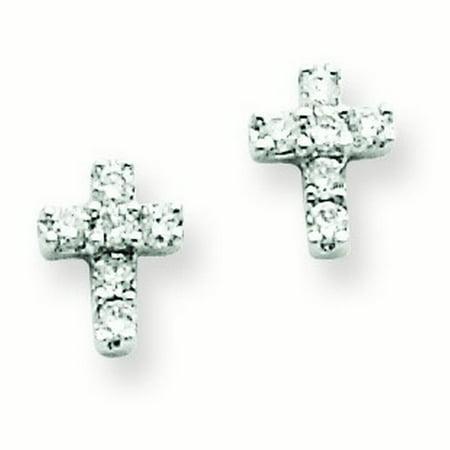 14k White Gold Diamond Cross Earrings 13 Dwt